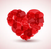 Heart made from red cartoon bubbles Stock Photo