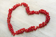 Heart made with red currant berries Royalty Free Stock Photography