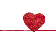Heart made from red paper. Red heart shape symbol made from red paper  on white background Royalty Free Stock Photos