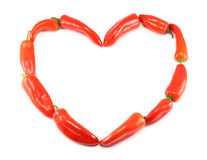 Heart Made Of Red Peppers royalty free stock images