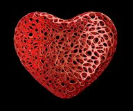 Heart made of red plastic with abstract holes isolated on black background. 3d. Rendering stock illustration