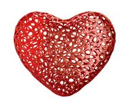 Heart made of red plastic with abstract holes isolated on white background. 3d stock images