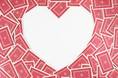 Heart made of red playing cards Stock Photography