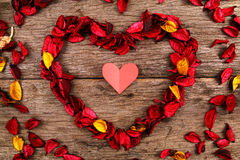 Heart made from red potpourri flower petals - Series 4 Royalty Free Stock Photos