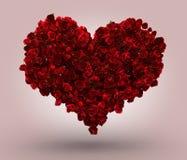 Heart Made of Red Roses. 3d heart made of red roses on pink background stock illustration