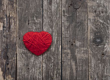 A heart made of red wool yarn Royalty Free Stock Photo