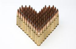Heart made of rifle ammunitions Royalty Free Stock Image