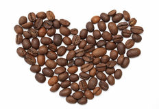Heart made of roasted coffee beans Stock Photography