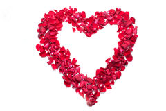 Heart made of rose petal Stock Photos