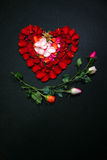 Heart made by rose petals. A full view of heart made by rose petals Stock Photography