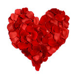 Heart made of rose petals isolated on white. Rose petals arranged to form a heart symbol on a white background stock image