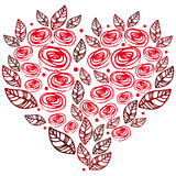 Heart made of roses and leaves Royalty Free Stock Images