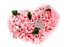 Heart made of roses locked on lock isolated Royalty Free Stock Photo