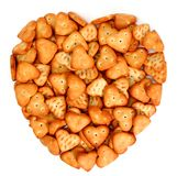 Heart made from salty cookies. Isolated on white, (look similar images in my portfolio Royalty Free Stock Photo