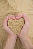 Heart made of sand. The heart made of sand royalty free stock images