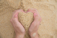 Heart made of sand. The heart made of sand stock photography