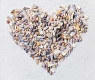 Heart made from sea shells Royalty Free Stock Photos