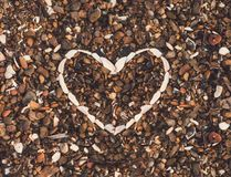 Heart from seashells background royalty free stock image