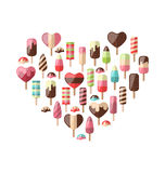 Heart made in Set Different Colorful Ice Cream Stock Photo