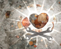 Heart made with sheet metal Royalty Free Stock Image