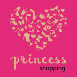 The heart is made from shoes, crowns, butterflies Stock Photo