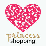 The heart is made from shoes, crowns, butterflies Stock Photography