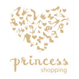 The heart is made from shoes, crowns, butterflies Royalty Free Stock Photos