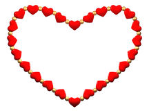 The heart made of small red hearts and  beads Stock Photography