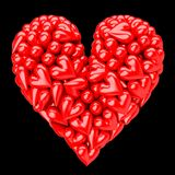 A heart made of small red plastic hearts on black background vector illustration