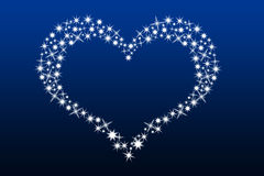 Heart made with stars. Valentine heart made with stars over the blue background Stock Photos