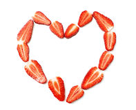 Heart made from strawberries Royalty Free Stock Photos