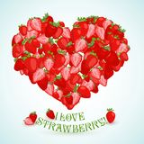 Heart made of strawberry with the text below Stock Images