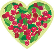 Heart is made by sweet cherries Stock Images