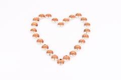 Heart made of thumbtack. fake Royalty Free Stock Photo