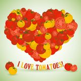 Heart made of tomatoes with the text below Stock Image