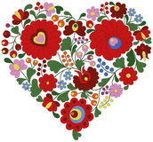 Heart made from traditional Hungarian embroidery pattern Stock Image