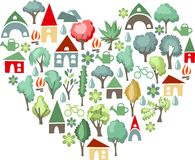 Heart made of trees. I love countryside Stock Images