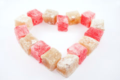 Heart made of turkish delight Royalty Free Stock Photo