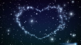 Heart made of twinkling Stars in the Beautiful night sky. Particles and Sparks in Heart Shape. HD 1080