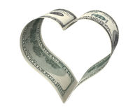 Heart made of two dollar papers Stock Image