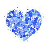 Heart made up of little blue hearts isolated on white. Heart made up of little blue and cyan hearts isolated on white Stock Photos