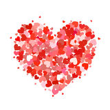 Heart made up of little pink and red hearts on white Stock Images