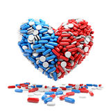 Heart - made up of pills and capsules Royalty Free Stock Photos