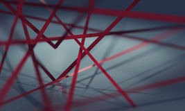 Heart made up of red ribbons Stock Images