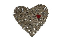 Heart made of wicker, labyrinth heart Royalty Free Stock Image