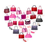 Heart made of woman bags Stock Photo