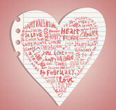Heart made of words Love, vector illustration. Stock Photo