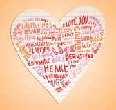 Heart made of words Love, vector illustration. Stock Photos