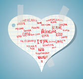 Heart made of words Love, vector illustration. Royalty Free Stock Images
