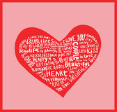 Heart made of words Love, vector illustration. Royalty Free Stock Photo